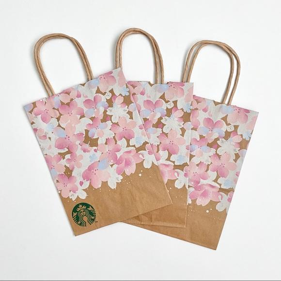 💥3/$15 Lot of 3 Starbucks Sakura Paper Totes